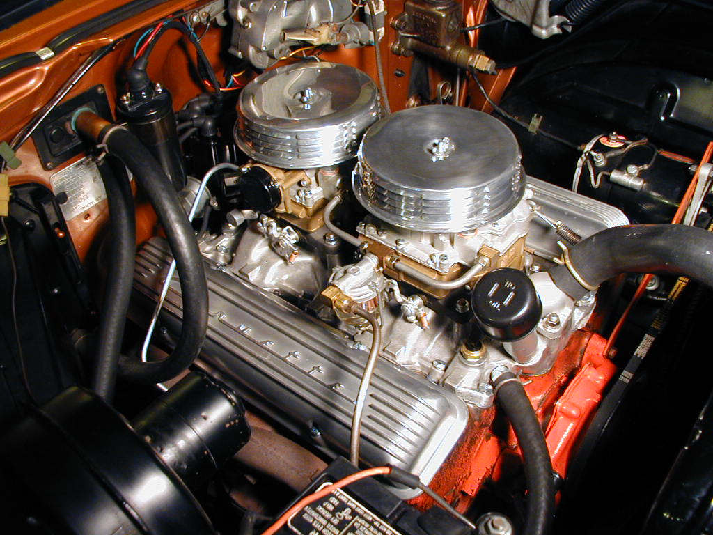 1955 Pontiac Air Cleaner : Edelbrock dual quad setup page trifive