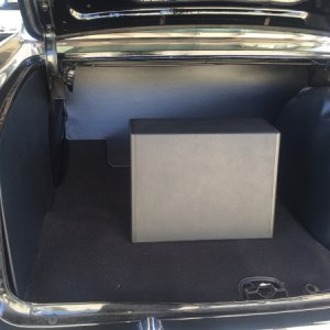 Trunk compartment finished with subwoofer in mid trunk. I've since moved it to trunk ledge hidden by fitted cover.