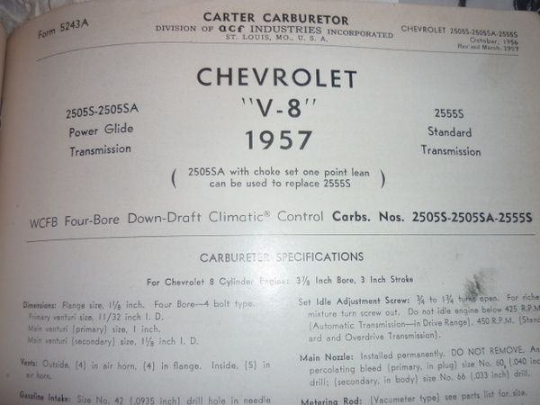 Carter WCFB ID Help - Page 2 - TriFive com, 1955 Chevy 1956 chevy